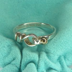 18K Gold & Sterling Silver Hook & Eye Ring 8.5